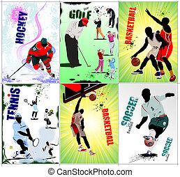 sport, labdarúgás, posters., jég, hat, h