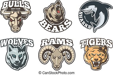 Sport labels set with different animals. Company mascot design