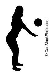 sport, leány, noha, labda, fekete, árnykép, white