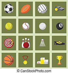 sport, lejlighed, sæt, iconerne