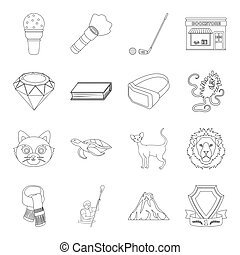 sport, library, animal and other web icon in outline style. medicine, education, hobby icons in set collection.