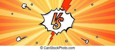 sport, libro, vettore, events., bandiera, vs, superhero, fondo, style., arte, contest., logotipo, lettere, esplosioni, pop, manifesto, rays., bolle, o, comico, contro, espressivo, vendemmia, sfida