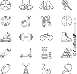 sport Line Art Isolated Icons Set Vector Illustration