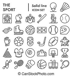 Sport line icon set, game symbols collection, vector sketches, logo illustrations, entertainment signs linear pictograms package isolated on white background, eps 10.