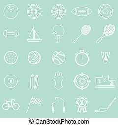 Sport line icons on green background