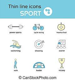 sport, linea sottile, icone, set, collezione