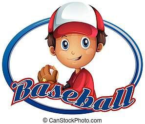 Sport logo design with baseball player