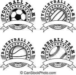 Vector illustration football volleyball basketball baseball logo set