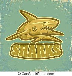 sport logo with shark on vintage background