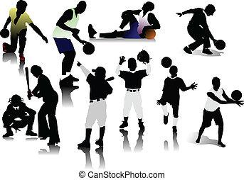 sport, ludzie, silhouettes.