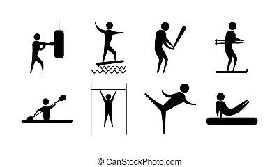 sport, ludzie, sylwetka, ikony, różny, komplet, działalność