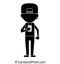 sport man character using smartphone pictogram