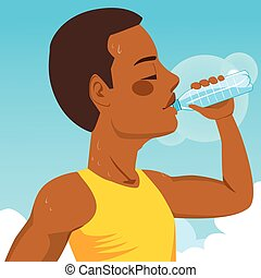 Sport Man Drinking Water - African American young runner...