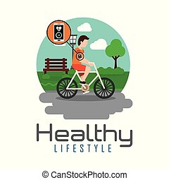 sport man riding bike in the park healthy lifestyle theme