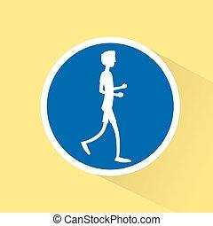 sport man run with fitness, runner jogging training flat design