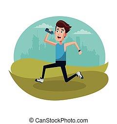 sport man running bottle water
