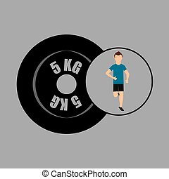 sport man running weight graphic