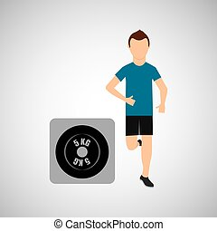sport man running weight graphic