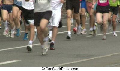Marathon, people in motion, legs