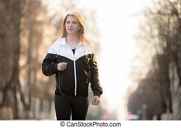 sport, marche, dans ville