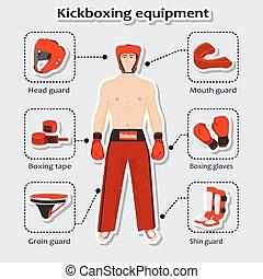 sport, martial, kickboxing, équipement, sportif, arts