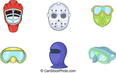 Sport mask icon set, cartoon style