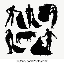 sport, matador, silhouetten