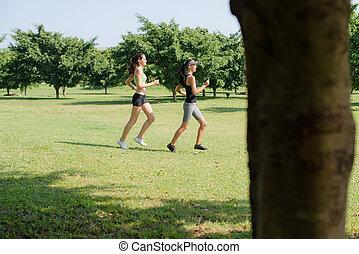 sport, med, två, unga kvinnor, joggning, in, stad parkera