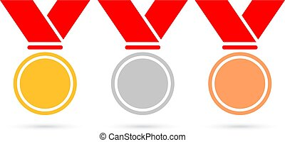Sport medals vector icons