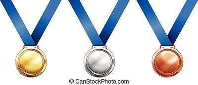Sport medals with blue ribbon