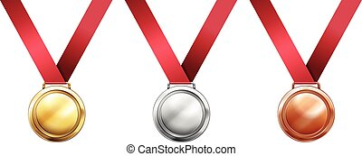 Sport medals with red ribbons