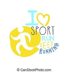 sport, miłość, barwny, symbol., ilustracja, trzym!ć, wyścigi, logo, pociągnięty, ręka