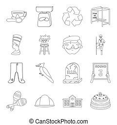 sport, miner, education and other web icon in outline style. ritual, history, art icons in set collection.