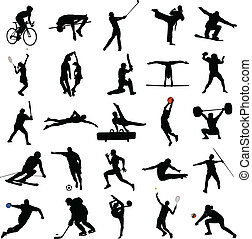 sport mix - 25 high quality sport silhouettes - vector
