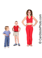 sport mother with children