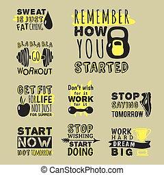 Sport motivational logo vector design hand drawn element banner gym crossfit trainings motivation text lettering illustration. Work positive motivate concept message typographic workout lifestyle.
