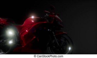 sport, moto, vélo, sombre, lumières studio, clair