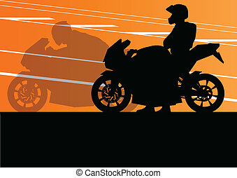 Sport motorbike riders and motorcycles silhouettes...
