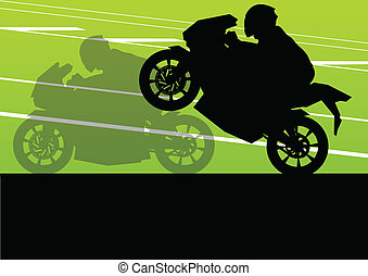Sport motorbike riders and motorcycles silhouettes illustration background vector