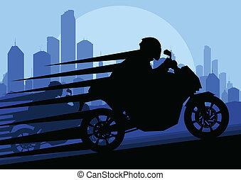 Sport motorbike riders motorcycle silhouettes