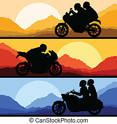 Sport motorbike riders motorcycle silhouettes collection vector