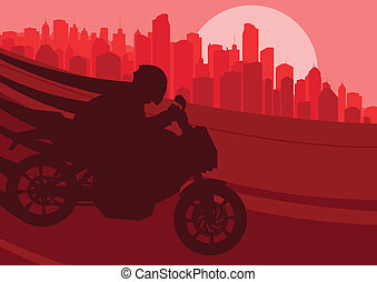Sport motorbike riders motorcycle silhouettes