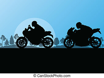 Sport motorbike riders motorcycle silhouettes in countryside forest nature landscape background illustration vector