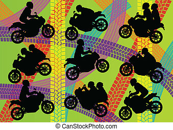 Sport motorbike riders silhouettes vector