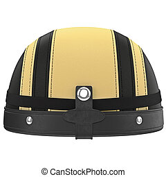 Sport motorcycle helmet with chrome studs, back view