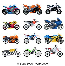Sport motorcycles transport vector illustration set of cartoon motobikes collection.
