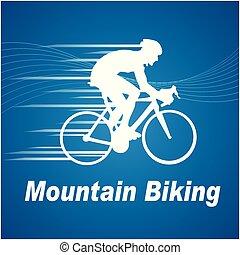 Sport Mountain Biking Blue Background Vector Image