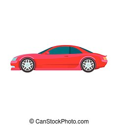 sport muscle car red flat Icon vector