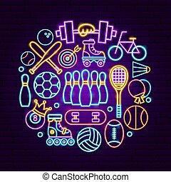 sport, neon, pojęcie