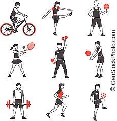 sport, nero, persone, icona